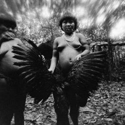 Candinha and Mariazinha Korihana thëri clean curassow, whose feathers are used to fledge arrows, Catrimani, Roraima State, Brazil, 1974.